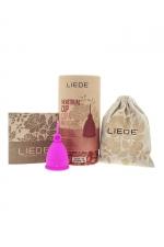 Cup menstruelle rose petite taille - Liebe : Coupe menstruelle 100% silicone, pratique et hygiénique, écologique et réutilisable, modèle taille S coloris rose, marque Liebe.