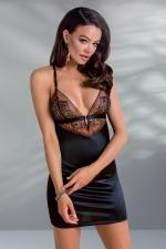 Nuisette Mirella : Nuisette noire éclairée d'une dentelle sensuelle brodée rouge sombre.