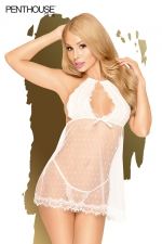 Nuisette Libido Boost blanche - Penthouse : Babydoll sexy  en point d'esprit et en dentelle transparente blanche accompagnée de son  son string assorti.