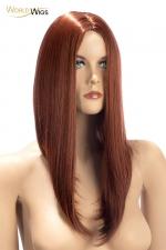 Perruque Nina auburn - World Wigs : Perruque auburn qualité Premium, avec cheveux longs en carré plongeant auburn pour un look à la fois retro et sexy.
